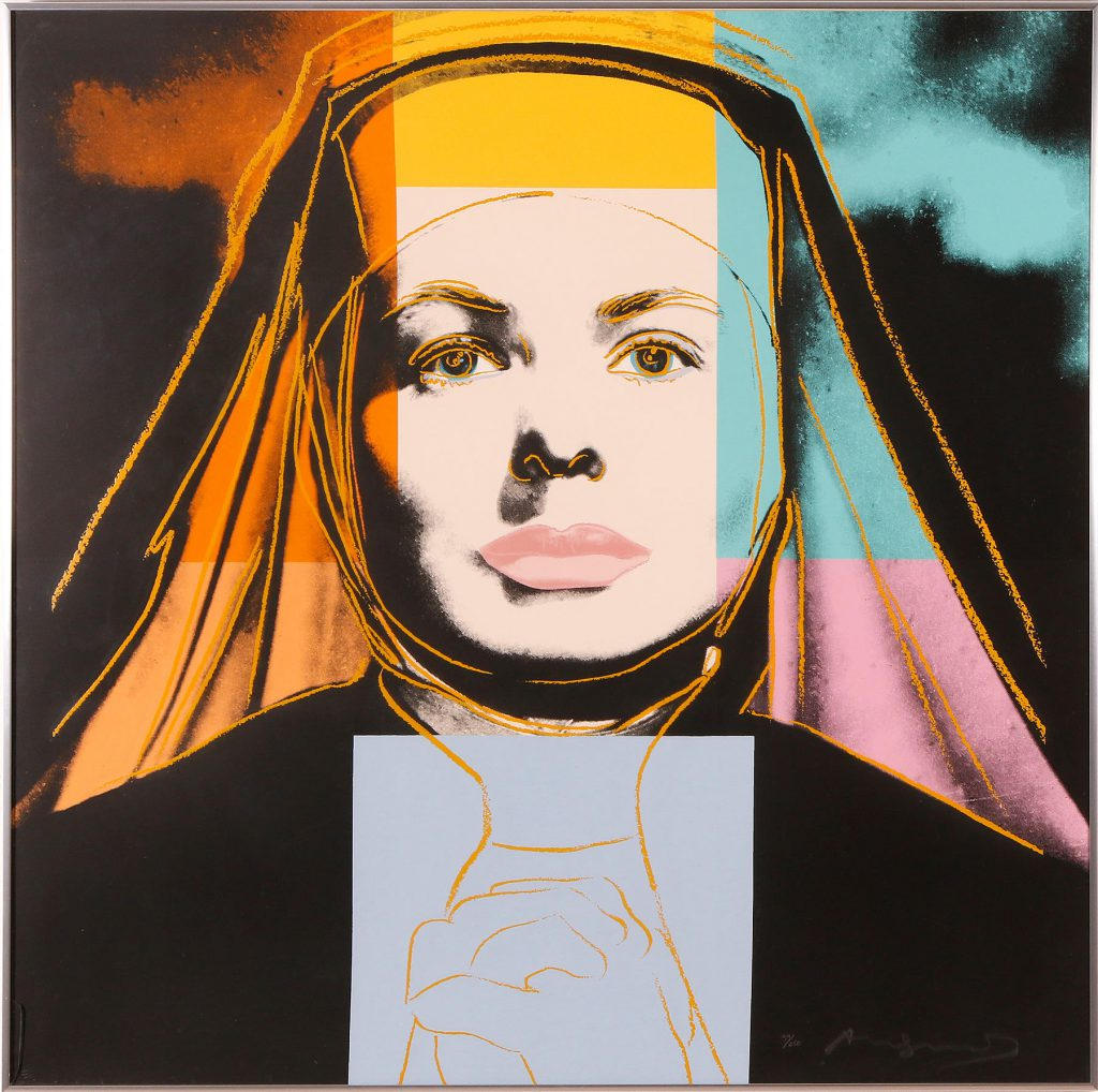 "Färgserigrafi, 1983. Hand Signed and numbered 39/250. ""The Nun"" from the suite Ingrid Bergman. Printed by Rupert J. Smith, New York and published by the Gallery Börjesson, Malmo. 96,5x96,5 cm. Price est.: 140000-160000 SEK Skåne Auktionsverks"