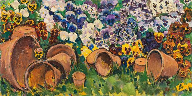 Koloman Moser (Wien 1868 - 1918 Wien) Pansies with flower pots, ca. 1910 Oil on canvas; 50 × 100.5 cm Price est.: € 100,000 - 200,000