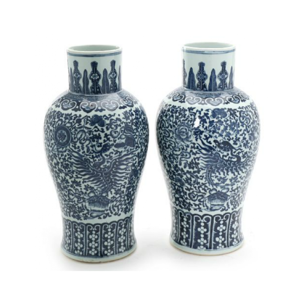 A pair of Chinese 20th c. porcelain vases decorated in underglaze blue with phoenix bird, Buddhist logos and flowers. H. 42.5 cm. Price est.: DKK 2,000-3,000 Sold for: DKK 4,400 http://www.bruun-rasmussen.dk/search.do?iid=300839107&mode=detail