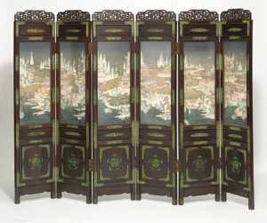 "A six folded Chinese hardwood screen with panels decorated with antler and walrus with motifs from the legend ""The red cabinet's dream"", the frame decorated with openwork ornaments of coloured antler. Late 19th century. Each panel H. 200 cm. W. 46 cm. Price est.: DKK 80,000-100,000 http://www.bruun-rasmussen.dk/search.do?iid=300823973&mode=detail"