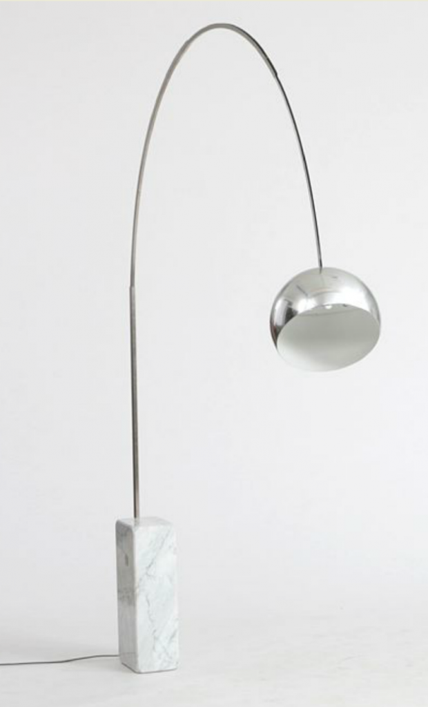 """Arco"" by Achille Castiglioni: Floor lamp with marble base, curved chromed metal arm with extension function. Manufactured by Flos. H. 240 cm. Price est.: DKK 4,000-5,000 Bruun Rasmussen"