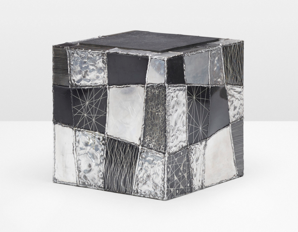 PAUL EVANS Argente cube table, model PE 37 Paul Evans Studio for Directional USA, 1969 welded and patinated aluminum, slate 16 w x 16 d x 16½ h in (41 x 41 x 42 cm) Wright