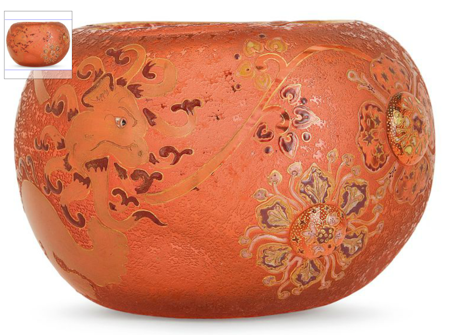 Daum Nancy, vase, c. 1892, pink glass, enamelled floral decoration, acid-etched dragon, enamelled floral decoration with gold highlights. Enamelled signature. High. 12,9cm - Diam. 18cm. Price est.: € 3,000-5,000 Tajan