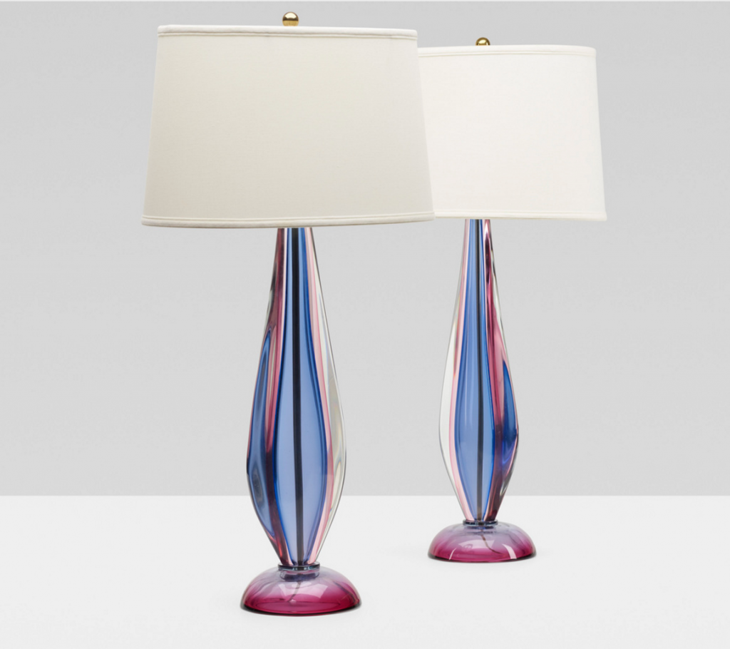 ARCHIMEDE SEGUSO. table lamps, pair. Italy, c. 1955 glass, brass, silk. 46 x 29 x 86 cm. Price est.: $5,000–7,000 Wright 20