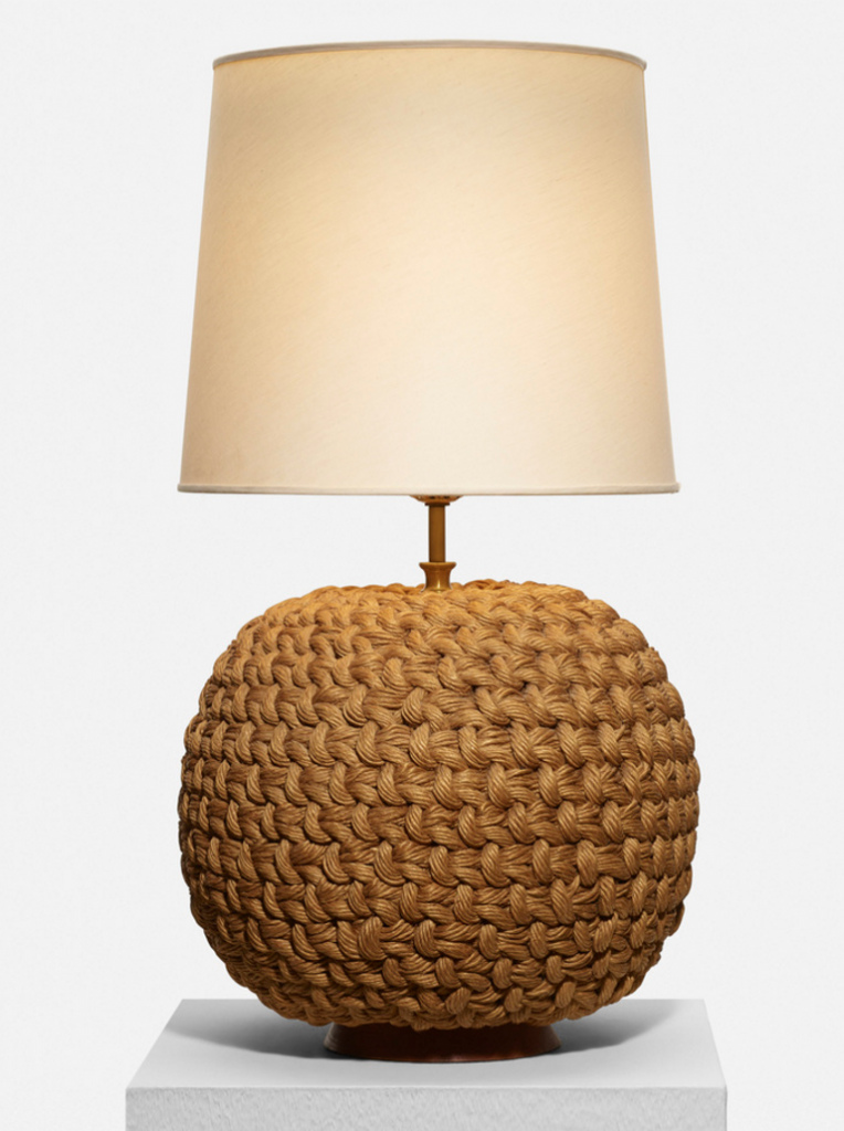 SELECTED BY SAMUEL MARX table lamp from the Morton D. May House USA, 1940 woven rope, brass, stained beech, linen 15 dia x 28 h in (38 x 71 cm) estimate: $1,500–2,000