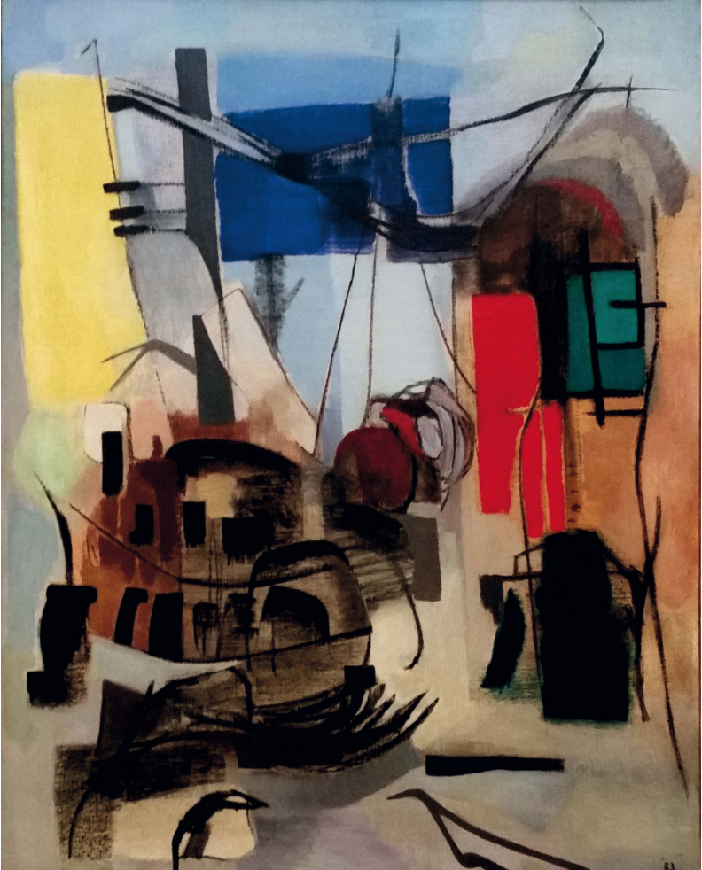 """Giuseppe Santomaso (1907-1990)  """"Sunday Workshop"""", 1953. Oil on canvas, 113x89 cm."""
