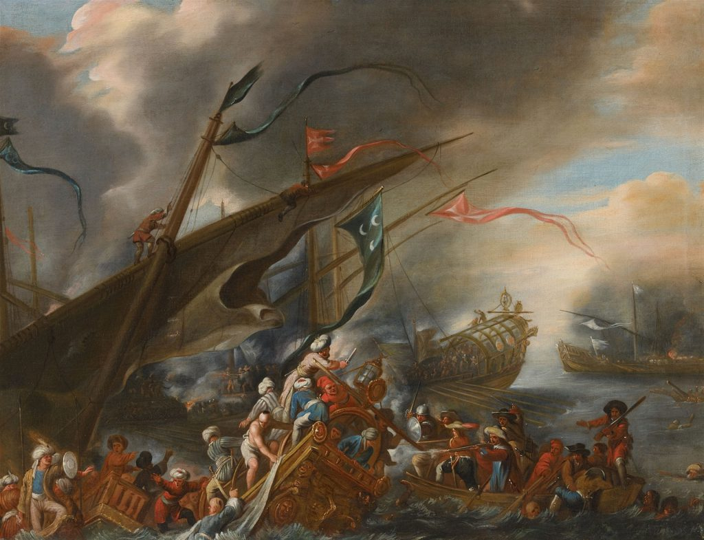 Cornelis de Wael, attributed to. 1592 Antwerp - 1667 Rome. A Naval Battle. Oil on canvas (relined). 75.5 x 100 cm.