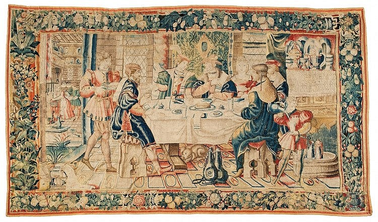 Lot 1004: An early Flemish tapestry with a banquet scene. 235 x 408 cm. Made in: Flanders, probably Brussels or Tournai / Doornik, 1st half 16th C.