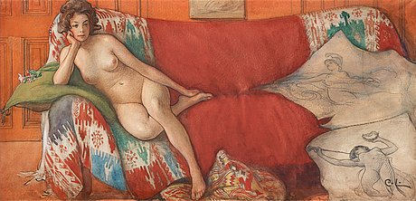 "CARL LARSSON, ""VILA"" (""REST""). Signed C.L. Watercolour 22 x 46.5 cm. Price est.: 1200000-1500000 SEK / 131147-163934 EUR"