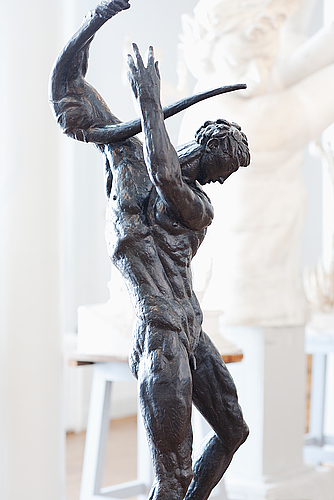 "CARL MILLES, ""ORPHEUS"". Signed Carl Milles. Foundry mark H Brergman fud, Stockholm and numbered 2/6. Dark patina, height 233 cm (including stone base 16 cm). Conceived 1925-26. Posthumously cast. 1 500 000 - 1 800 000 SEK/163 934 - 196 721 EUR"