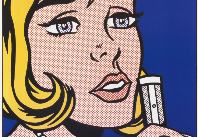 "Poster with letters, printed in 1991, for the exhibition ""Pop-Art Sammlung Beck"" at Wilhelm-Hack-Museum Ludwigshafen/Kunstverein Ludwigshafen from February to April 1991 with the motif of the same name of Roy Lichtenstein's silkscreen in colors"