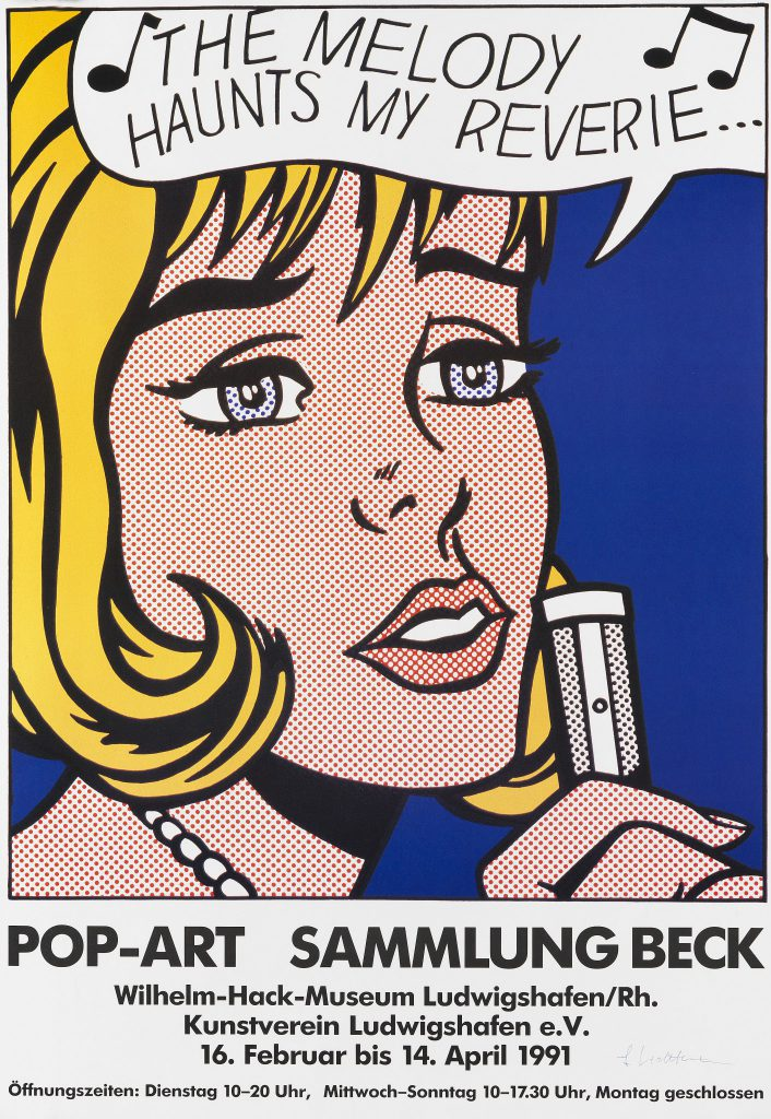 """Poster with letters, printed in 1991, for the exhibition """"Pop-Art Sammlung Beck"""" at Wilhelm-Hack-Museum Ludwigshafen/Kunstverein Ludwigshafen from February to April 1991 with the motif of the same name of Roy Lichtenstein's silkscreen in colors"""
