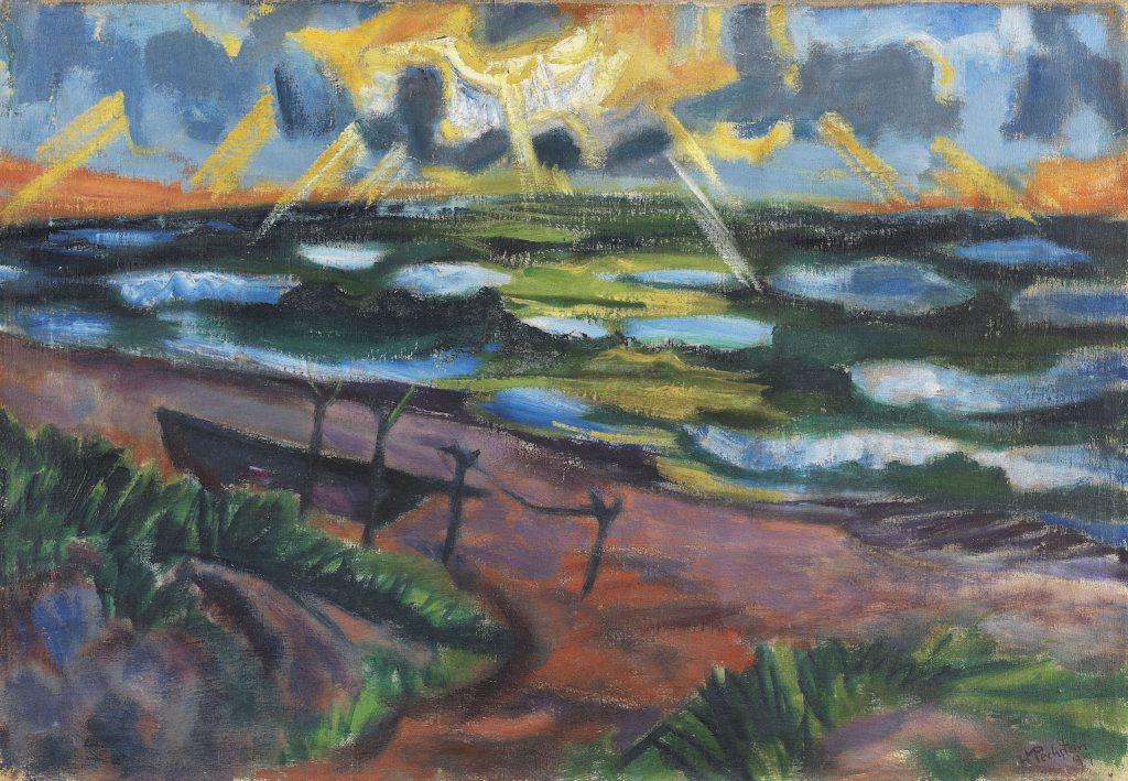 HERMANN MAX PECHSTEIN Stürmisches Wetter an der Ostsee (Beschienene Wellen), 1919. Oil on canvas Estimate: € 350,000 / $ 395,500 Sold: € 700,000 / $ 790.999 (incl. 25% surcharge) Ketterer Kunst