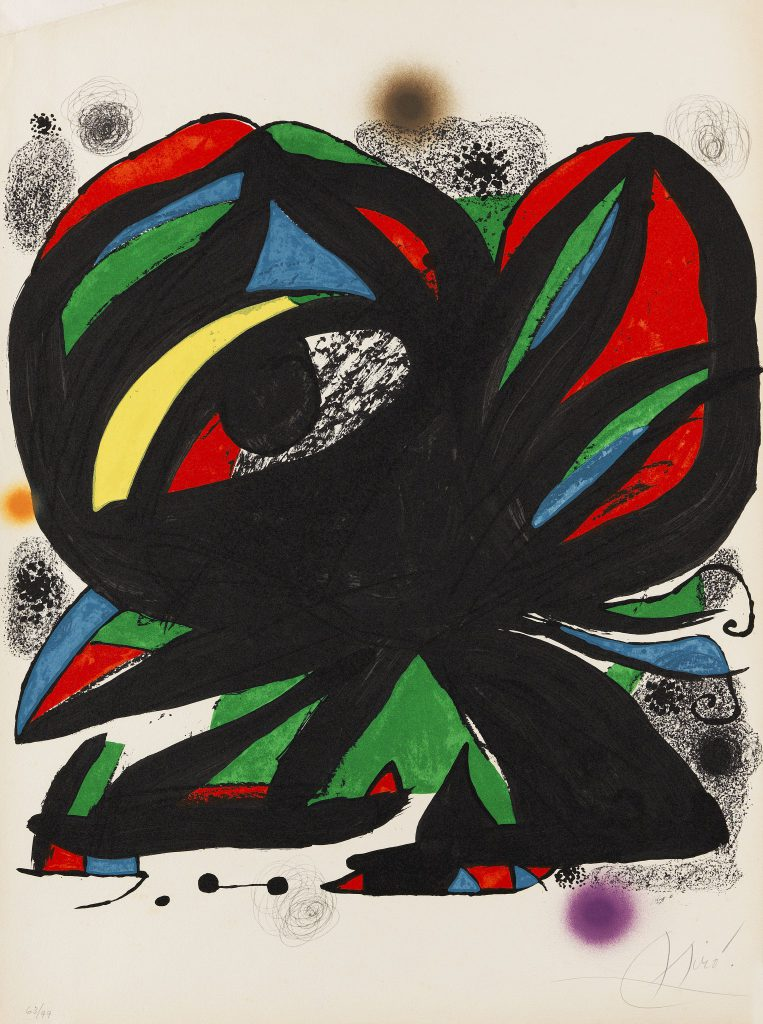 Poster for the opening of Fundació Joan Miró, Barcelona (before the letter). 1975. Lithograph in colors. Cramer 1031. Corredor-Matheos 85. On wove paper by Guarro (without watermark). 58.5 x 50 cm (23 x 19.6 in). Sheet: 70 x 50 cm ( x 19,6 in). Starting bid: € 1,830 Ketterer Kunst