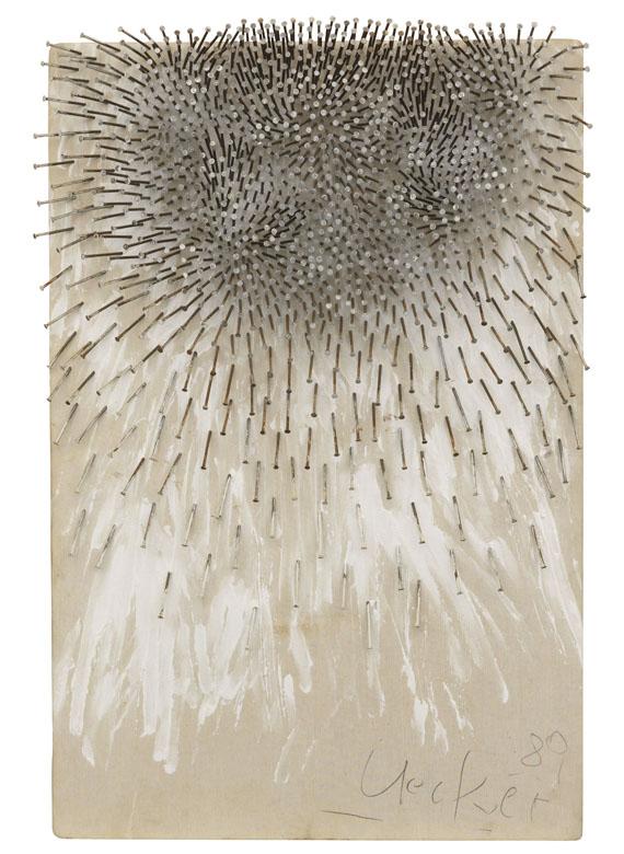 GÜNTHER UECKER. Ohne Titel, 1989. Estimate: € 220,000 / $ 248,600 Sold: € 400,000 / $ 451.999 Ketterer Kunst