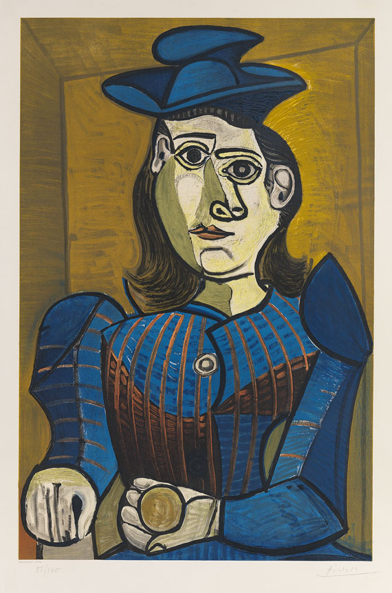 PABLO PICASSO. Femme assise (Dora Maar), 1955. Lithograph in colors Estimate: € 28,000 / $ 30,800 Sold: € 34,160 / $ 37.576 Ketterer Kunst