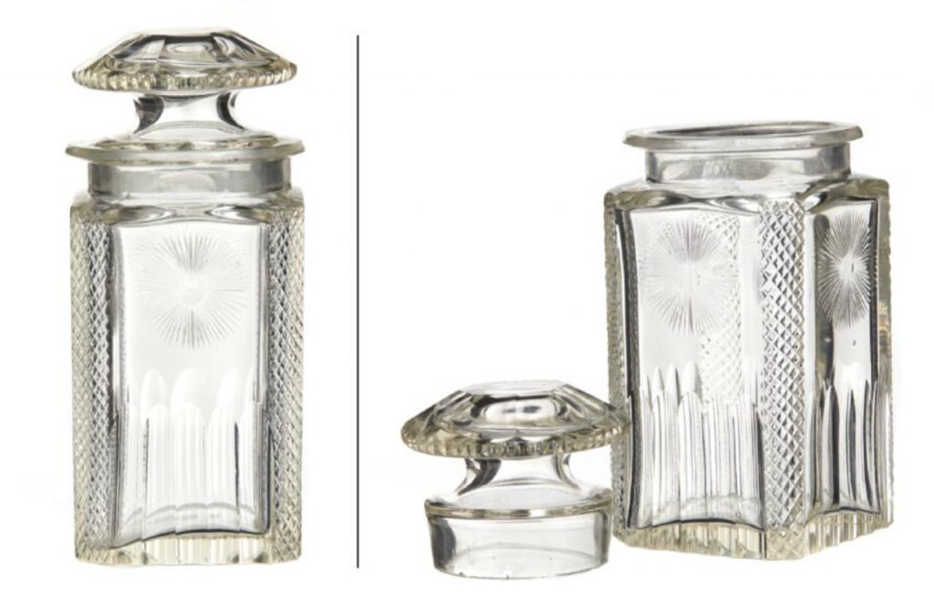 Jar with Lid. Biedermeier. Clear glass. Polished decor. 1800s. Price est.: € 100-160 Blomqvist