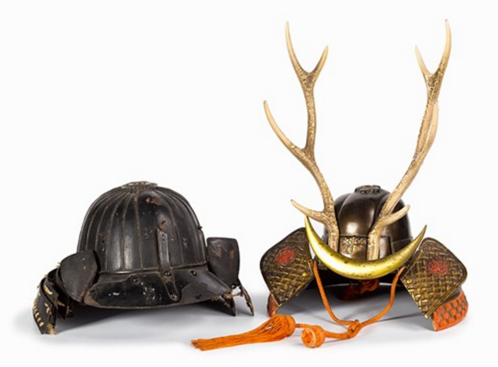 Two Japanese Helmets, 20th C. Starting price € 1,200.00, Estimated value € 2,400.00.