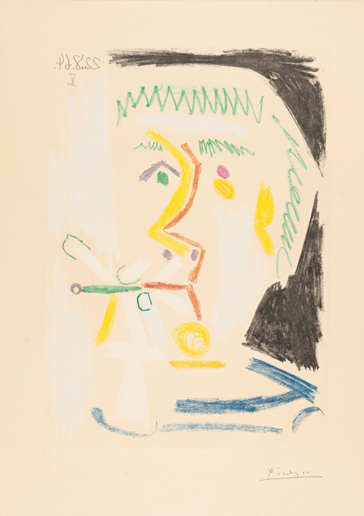 Pablo Picasso 1881-1973 FUMEUR aquatint printed in colors, signed in pencil, Price est: 14,000 — 18,000 USD