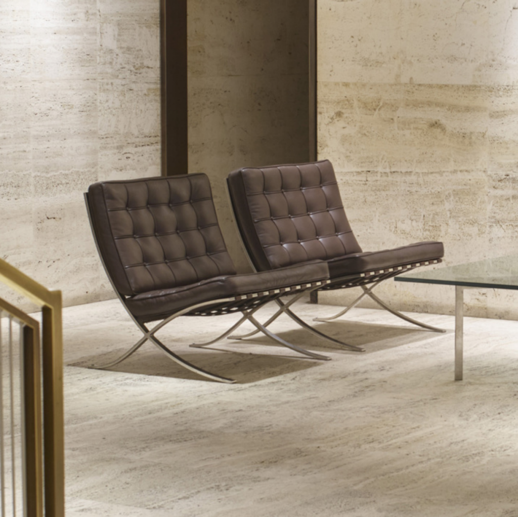 LUDWIG MIES VAN DER ROHE. Barcelona chairs from the entrance lobby of The Four Seasons, pair. Produced by Treitel Gratz. stainless steel, leather. Price est: $5,000–7,000 Wright 20
