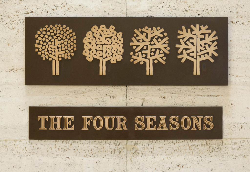 EMIL ANTONUCCI, The Four Seasons sign. bronze (60 x 36 cm) Price est.: $5,000–7,000. Wright 20 This bronze sign was installed on the entrance stairs leading to Picasso alley. Proceeds from the sale of this lot will benefit the Canadian Centre for Architecture.