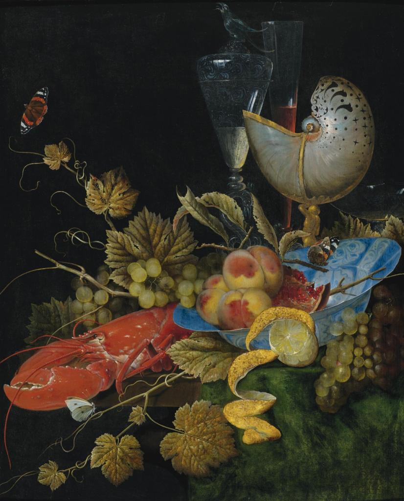 Ottmar Elliger the Elder STILL LIFE WITH LOBSTER, FRUIT AND A NAUTILUS SHELL Estimate 150,000 — 200,000 USD LOT SOLD. 182,500 USD 2009 oil on panel