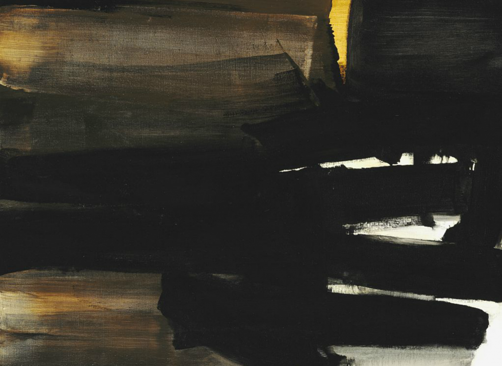 """Pierre Soulages: """"Peinture"""", 1963. Signed Soulages; dated on the reverse. Oil on canvas. 97 x 130 cm. Sold for: Photo courtesy of Bruun Rasmussen"""