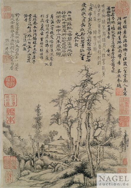 Zhang Yu, Pavillon unter kahlen Bäumen. Ink on paper. 44.00 x 29.00 cm. Sold for: €240,000 at Nagel. Photo courtesy of Nagel