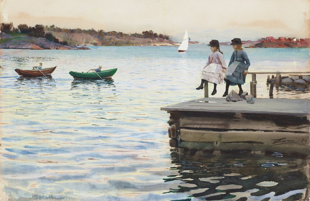"""ANDERS ZORN, """"KAPPRODD"""" (""""BOAT RACE""""). Signed Zorn and dated -86. Watercolour 29.5 x 44 cm. Sold for: at Bukowskis. Photo courtesy of Bukowskis"""
