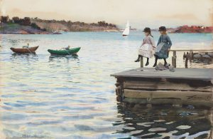 "ANDERS ZORN, ""KAPPRODD"" (""BOAT RACE""). Signed Zorn and dated -86. Watercolour 29.5 x 44 cm. Sold for: at Bukowskis. Photo courtesy of Bukowskis"