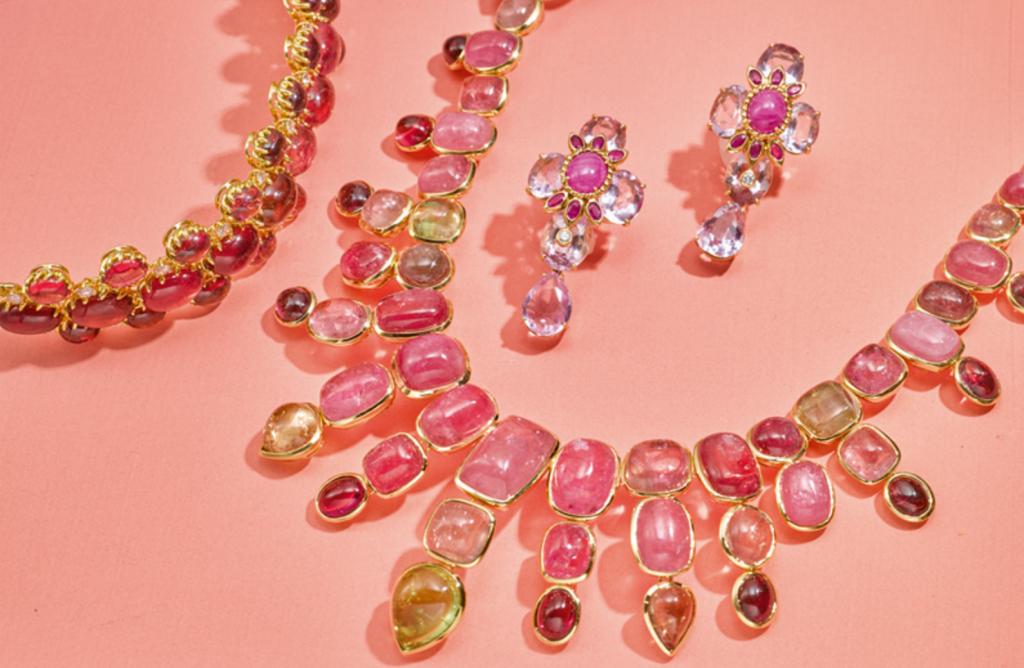 (Left to right) 18 Karat Gold, Tourmaline and Diamond Bracelet, Tony Duquette. Estimate $10,000–15,000; 18 Karat Gold and Tourmaline Necklace, Tony Duquette. Estimate $25,000–30,000; Pair of 18 Karat Gold, Ruby, Amethyst and Diamond Earclips, Tony Duquette. Estimate $8,000–10,000.