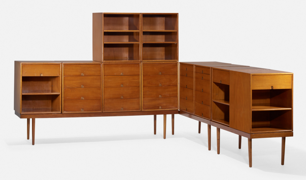 CHARLES EAMES AND EERO SAARINEN. Storage units for the Organic Design Competition. Red Lion Furniture Company. USA, 1941. Mahogany. 229 x 183 x 145 cm. Price est.: $10,000–15,000 Wright