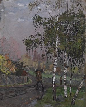 """Edvard Munch. """"Birch trees and man carrying twig"""" 1881/1882. Oil on board, 35x28 cm. Sold for: at Blomqvist. Photo courtesy of Blomqvist"""