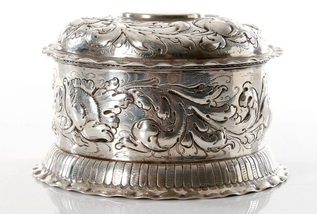 Hand chiseled silver bowl for the Sacramental bread. Late 1600s. Maker, possibly, Mathias Slim. approximately 230 gr, Diameter 11,5cm.