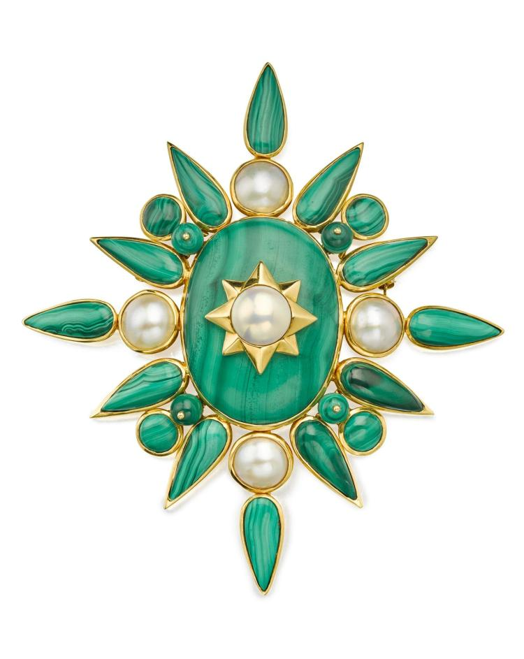 Malachite and Cultured Pearl Brooch, Tony Duquette. Estimate $5,000–7,000. Sotheby's