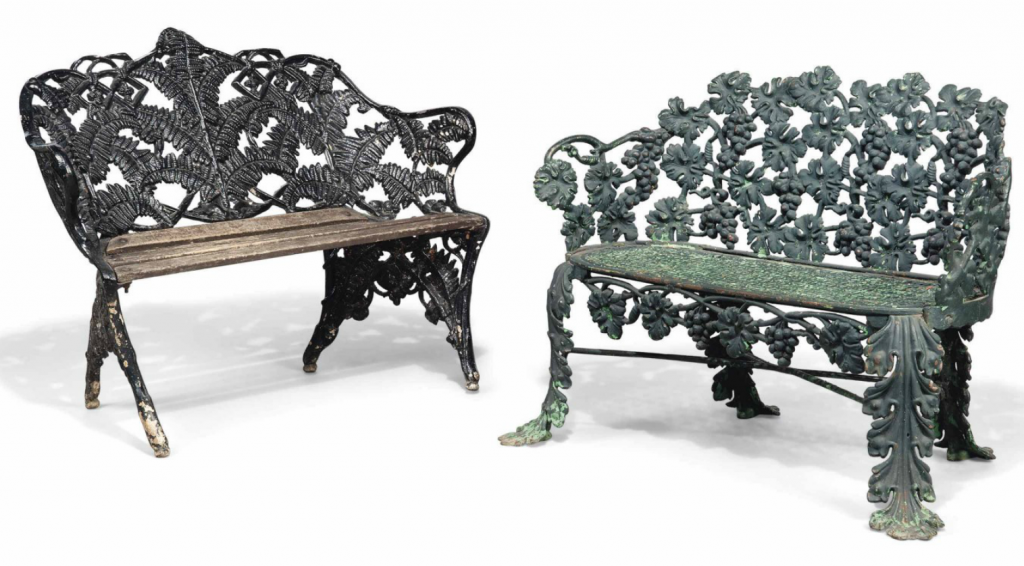 Two Victorian cast iron garden seats. Late 19th century. Estimate GBP 800 - GBP 1,200 Christie's