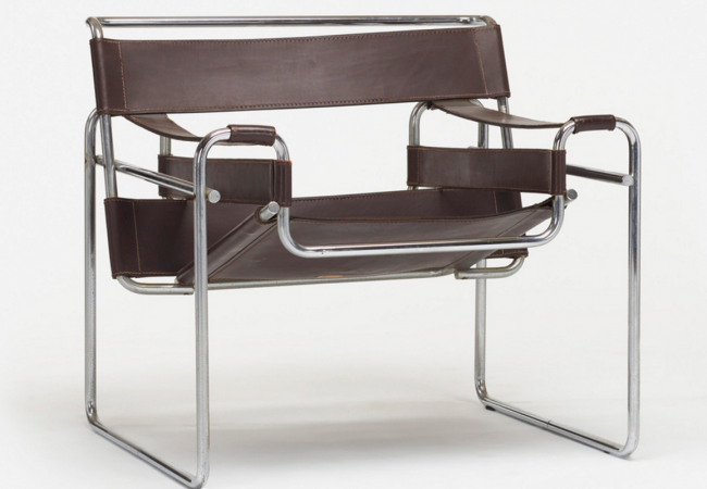 Wassily chair by Marcel Breuer (1925). Produced by Knoll International c. 1970. Chrome-plated steel, leather. Price estimate: $300–500