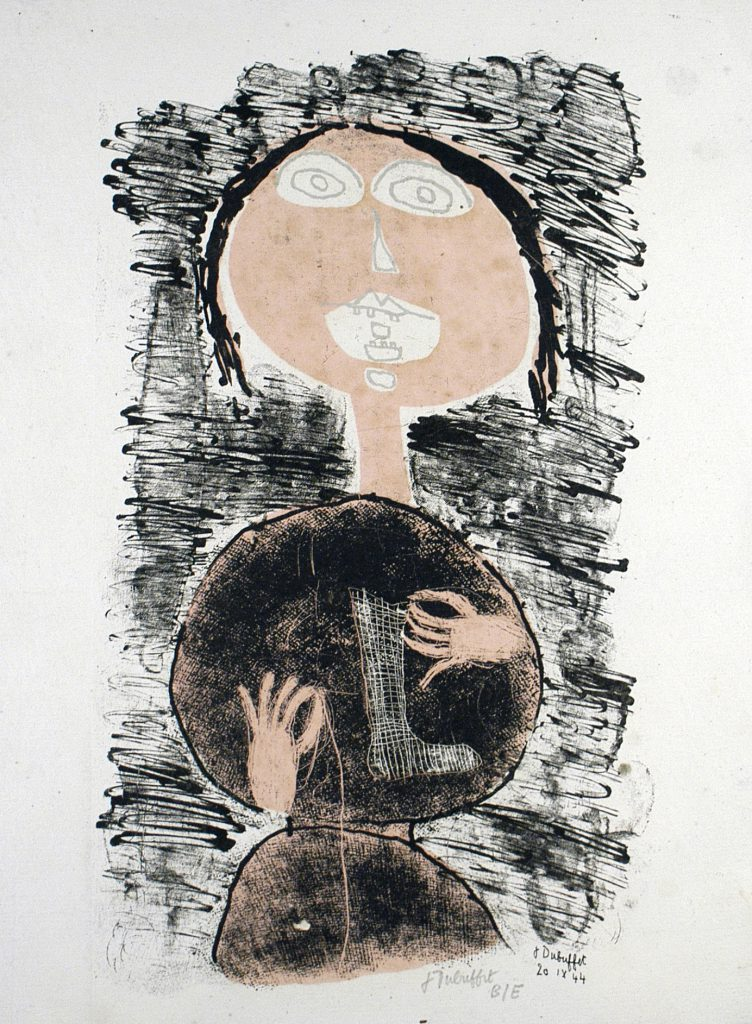Jean Dubuffet, Raccommodeuse socks ( W21 ) Matter and Memory, 1944. Lithograph in 2 colors. 34 x 25,4 cm. Courtesy of Galerie Baudoin Lebon