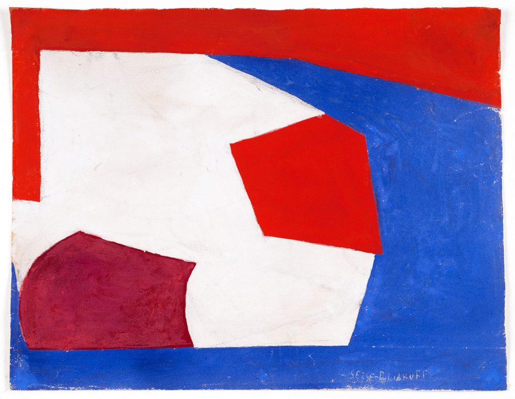 Serge POLIAKOFF, Bleu blanc rouge, 1950, gouache, 30 x 39 cm. Courtesy of Galerie Bert