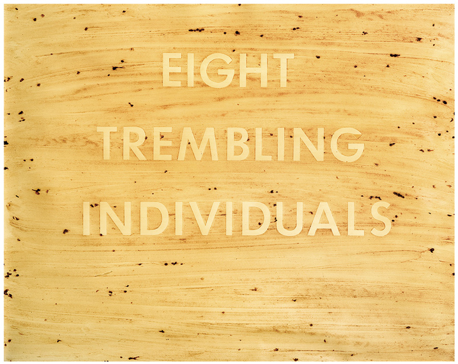 "Ed Ruscha, Eight Trembling Individuals, 1977. Blackberry juice on paper. Sheet: 22.75"" x 28.75""; Frame: 27.625"" x 33.625"" Price est.: $250,000 - $350,000 LAMA"