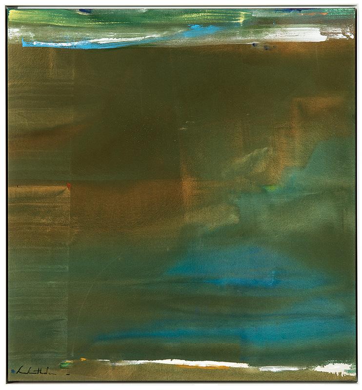 """Helen Frankenthaler, Jade, 1976. Acrylic on canvas. Canvas: 44.5"""" x 41.5""""; Frame: 45.5"""" x 42.5"""" Price est.: $300,000 - $500,000 LAMA"""