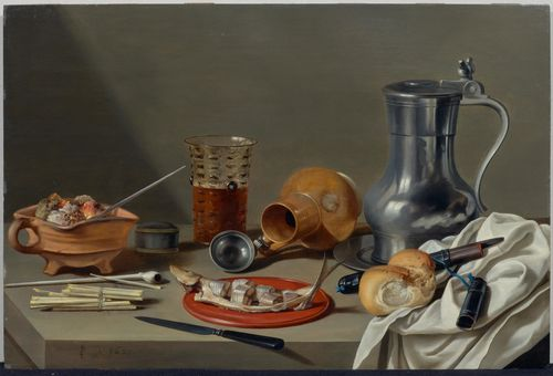 Pieter Claesz (Berchem/Antwerp 1597 - 1661 Haarlem) Still life with smoker's requisites, a large pewter flagon, a stoneware pitcher on its side, a beer glass and a herring. 1627. Oil on panel. 50.2 x 74.6 cm. Price est.: € 462,960 - 648,150