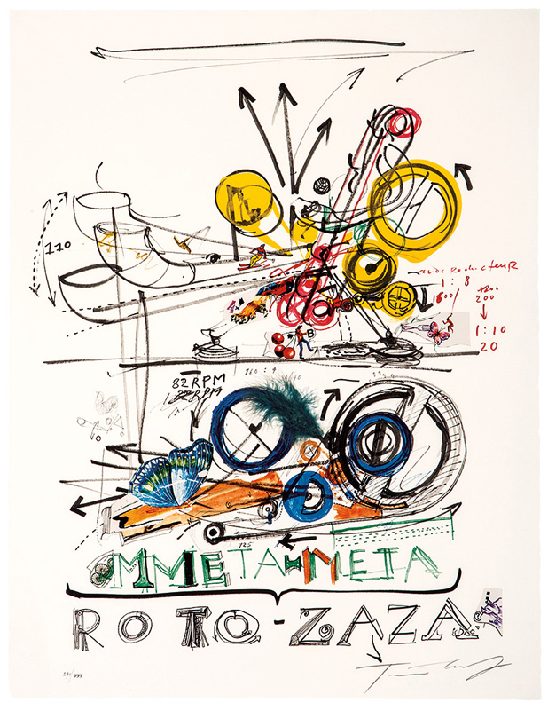 "Jean Tinguely, Meta-Meta/Roto-Zaza, 1967. Offset color lithograph with collage on paper, #291 of 999. Image/sheet: 35"" x 27""; Frame: 38"" x 29.75"" Estimate: $800 - $1,200"