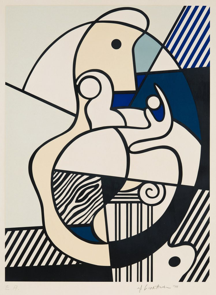 "Roy Lichtenstein, ""Homage to Max Ernst"", From: ""Bonjour Max Ernst"". 1975, Paris. Silkscreen on Arches paper. L. 53,7 x 39,7 cm, S. 65.2 x 50.4 cm. Price est.: € 2,598 - 3,118. Bukowskis"