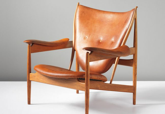 Finn Juhl 'Chieftain' armchair. circa 1949, Teak, leather. 93.5 x 103.5 x 92 cm. Manufactured by cabinetmaker Niels Vodder, Denmark. Estimate £50,000 – 75,000. SOLD FOR £422,500 in September 2013 at Phillips Auctioneers