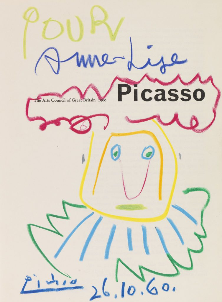Picasso. The Arts Council of Great Britain 1960. (4th edition) with original signature and drawings in chalk by Picasso. 1960. Est: € 2,000, Sold for € 45,600 at Ketterer Kunst.