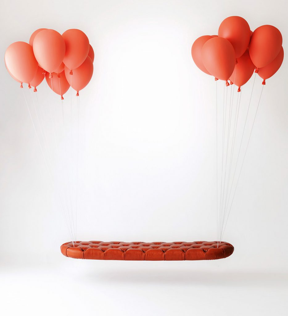 Satoshi Itasaka, Balloon Bench, leather mobile day bed, steel cables, vermilion polypropylene balloons. Adjustable Hight, L 172 X P 50 cm. Price est.: € 8,000-12,000 Tajan