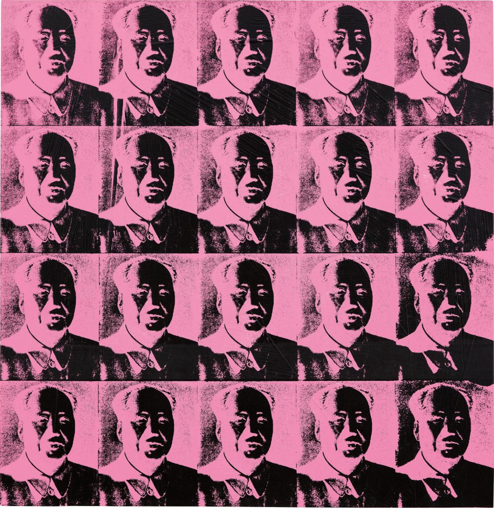 Andy Warhol, 20 Pink Mao's. Synthetic polymer and silkscreen ink on canvas, 99.7 x 96.8 cm, 1979. Price est.: £4,000,000 - 6,000,000 Sold for: £4,741,000 at Phillips.
