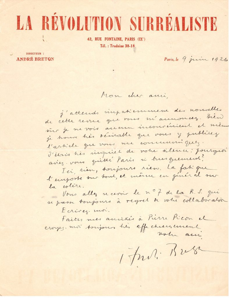 André Breton (1896-1966) Letter to Jean Carrive. Paris, June 9, 1926. Price est.: € 500-700 Tajan