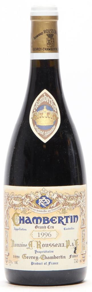 1 bt. Chambertin Grand Cru, Domaine Armand Rousseau 1996 A (hf/in). Price est.: € 670-940 Bruun Rasmussen
